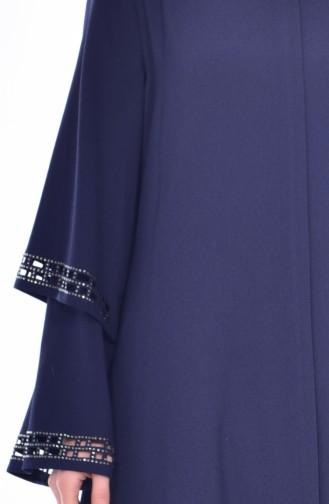Abaya İmprimée de Pierre Coupe Laser 35801-02 Bleu Marine 35801-02