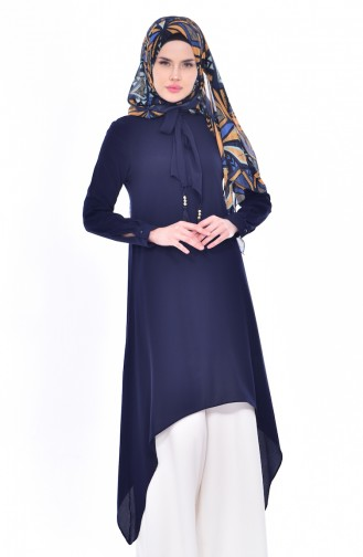Tie Detailed Tunic 4876-02 Navy 4876-02