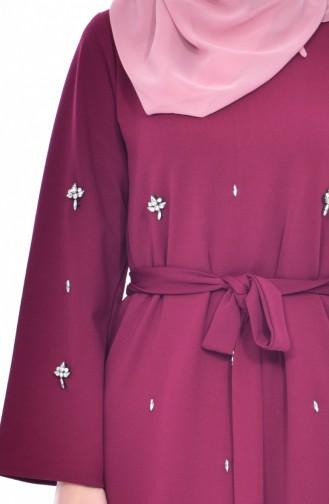Stone Belt Dress 1823-04 Plum 1823-04