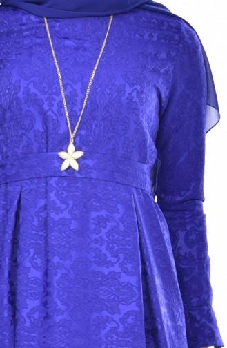 Robe Jacquard avec Collier 5508-03 Bleu Roi 5508-03