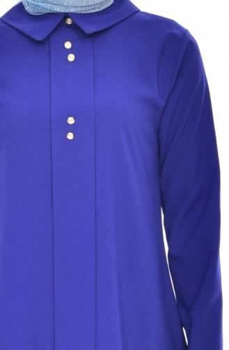 Shirt Collar Pleated Tunic 1162-08 Saks 1162-08
