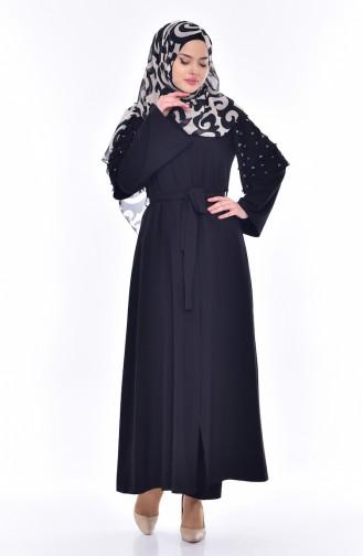 Abaya Bordée de Perles 35808-01 Noir 35808-01
