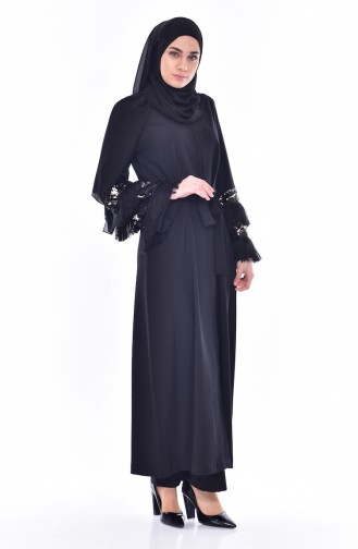 SUKRAN Sequined Tasseled Abaya 35823-01 Black 35823-01