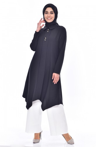 Shirt Collar Pleated Tunic 1162-01 Black 1162-01