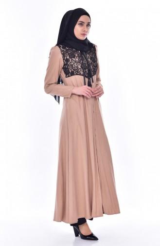 Hijab Mantel mit Spitzen 6001-01 Nerz 6001-01