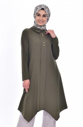 Shirt Collar Pleated Tunic 1162-06 Green 1162-06
