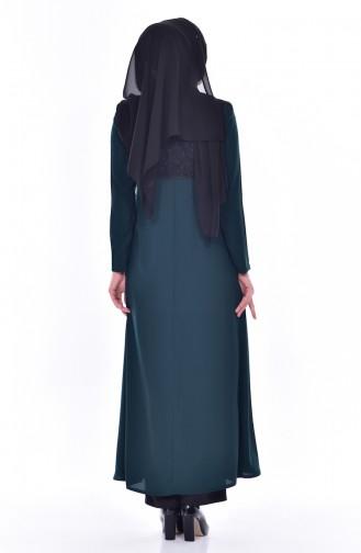 Hijab Mantel mit Spitzen 5701-01 Smaragdgrün 5701-01