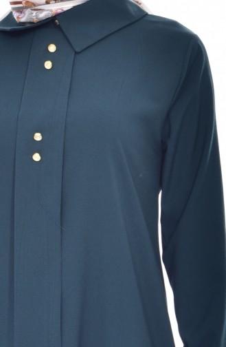 Shirt Collar Pleated Tunic 1162-05 Emerald Green 1162-05