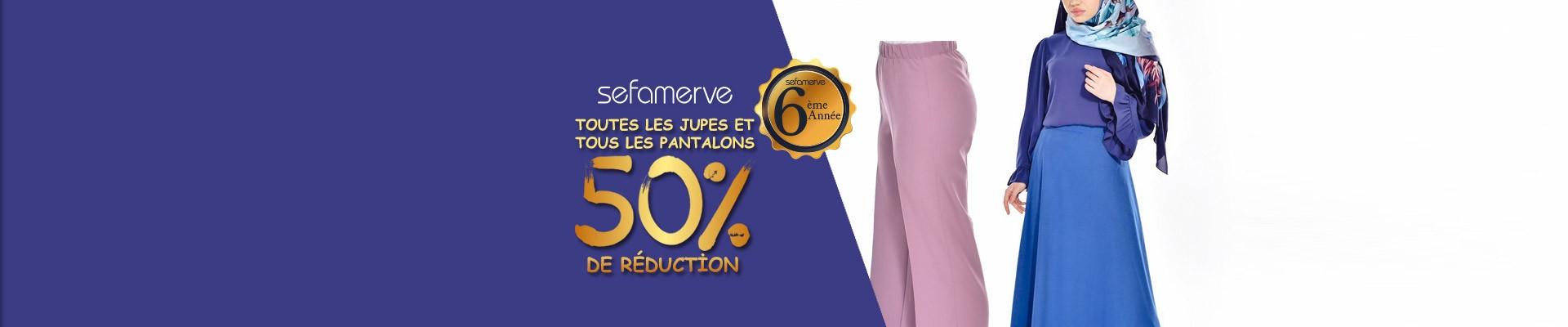 TOUTES LES JUPES ET TOUS LES PANTALONS 50% De Réduction
