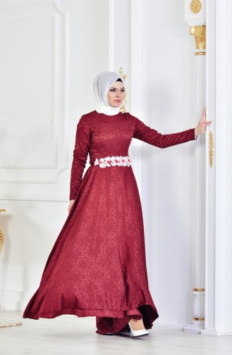Claret red Islamic Clothing Evening Dress 1013-01
