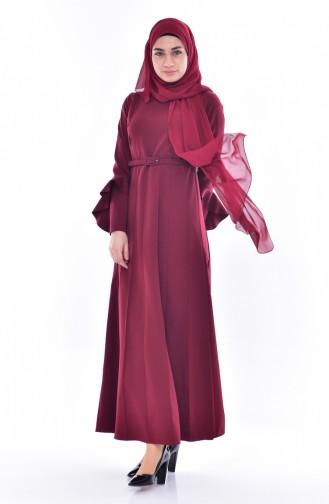 فستان بتصميم أكمام واسعة وحزام للخصر 1083-02 لون خمر ي 1083-02