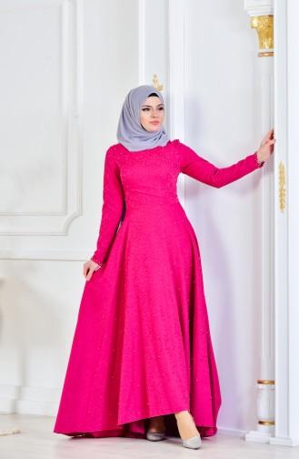 فستان بتصميم مميز مع تفاصيل من اللؤلؤ  1014-01