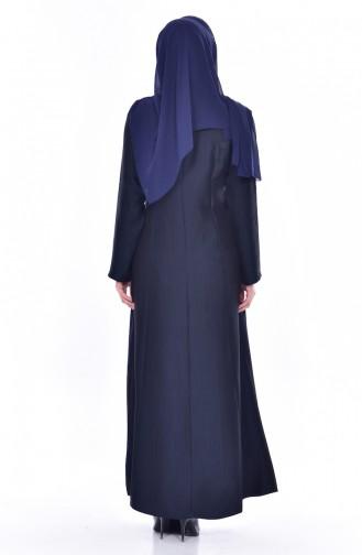 Zippered Abaya 4041-01 Navy Blue 4041-01