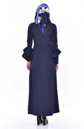 Kleid mit Volants 1083-01 Dunkelblau 1083-01