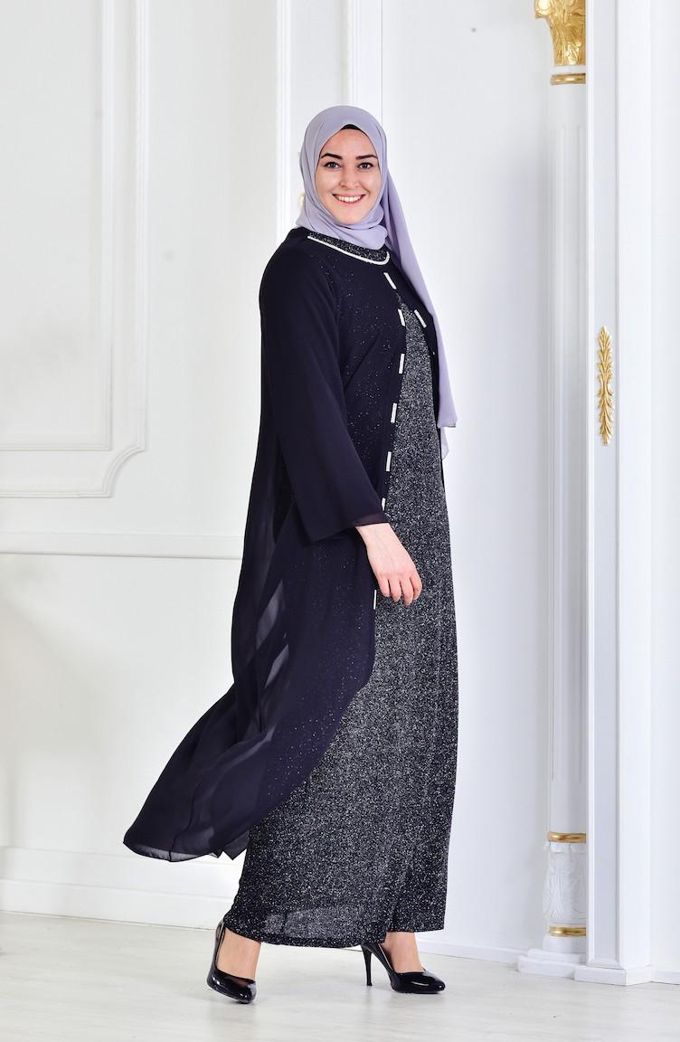 74f4a06f4 فستان سهرة لامع بتصميم مقاس كبير 6116-04 لون اسود 6116-04