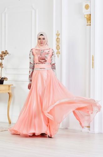 Salmon Islamic Clothing Evening Dress 1713221-04