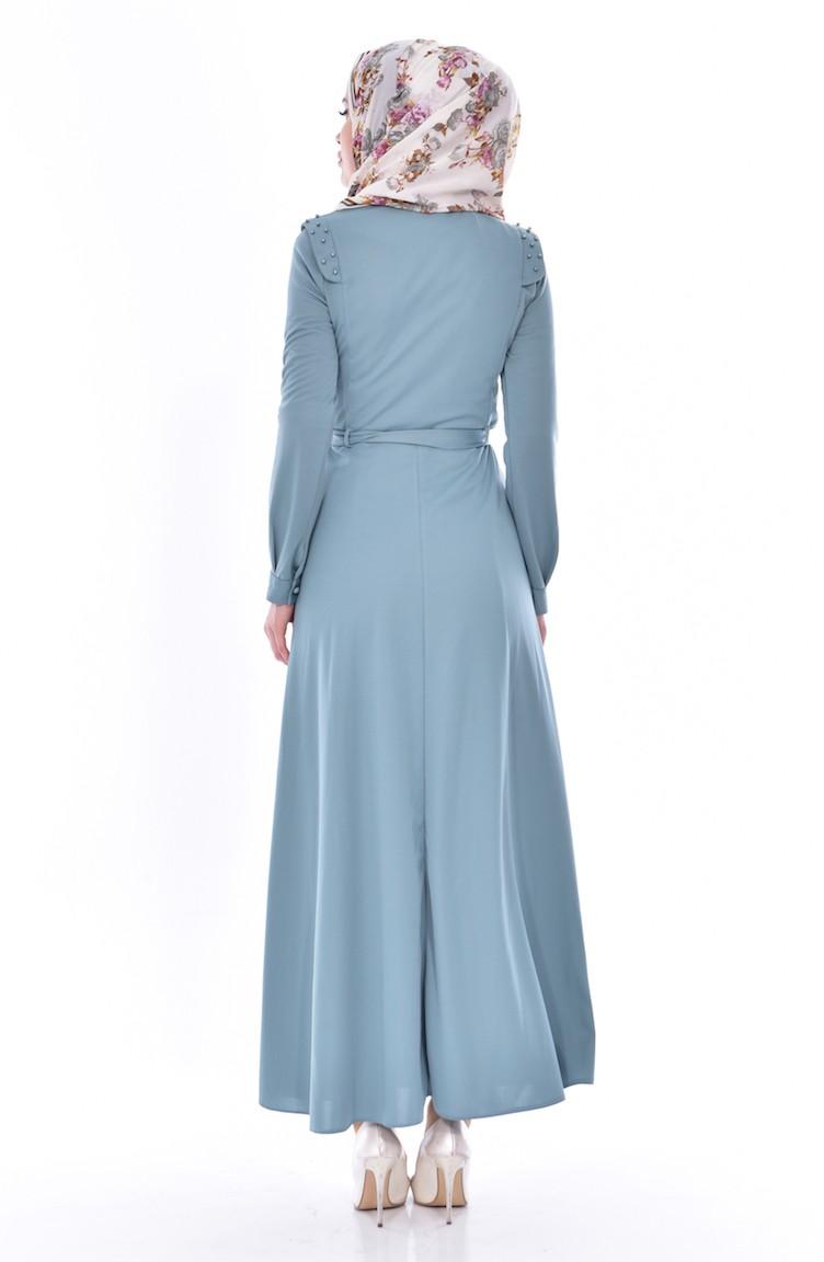 Kleid mit Gürtel 1175-02 Helles Grün 1175-02 | Sefamerve