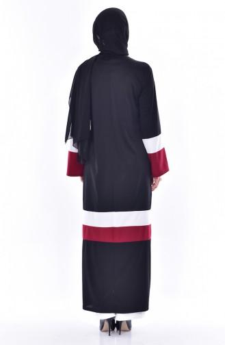 Garnili Zippered Abaya 3311-05 Black Claret Red 3311-05