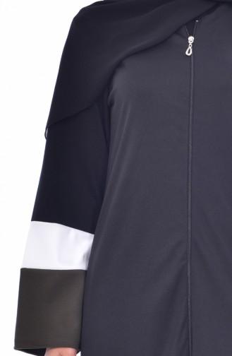 Striped Zippered Abaya 3311-02 Black Khaki 3311-02