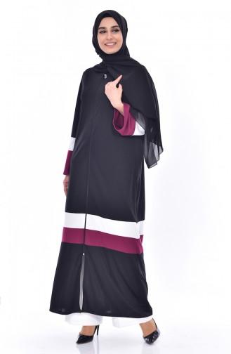Striped Zippered Abaya 3311-04 Black Plum 3311-04