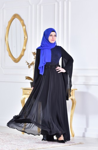 Robe de Soirée a Dentelle 1713212-01 Noir Bleu Roi 1713212-01