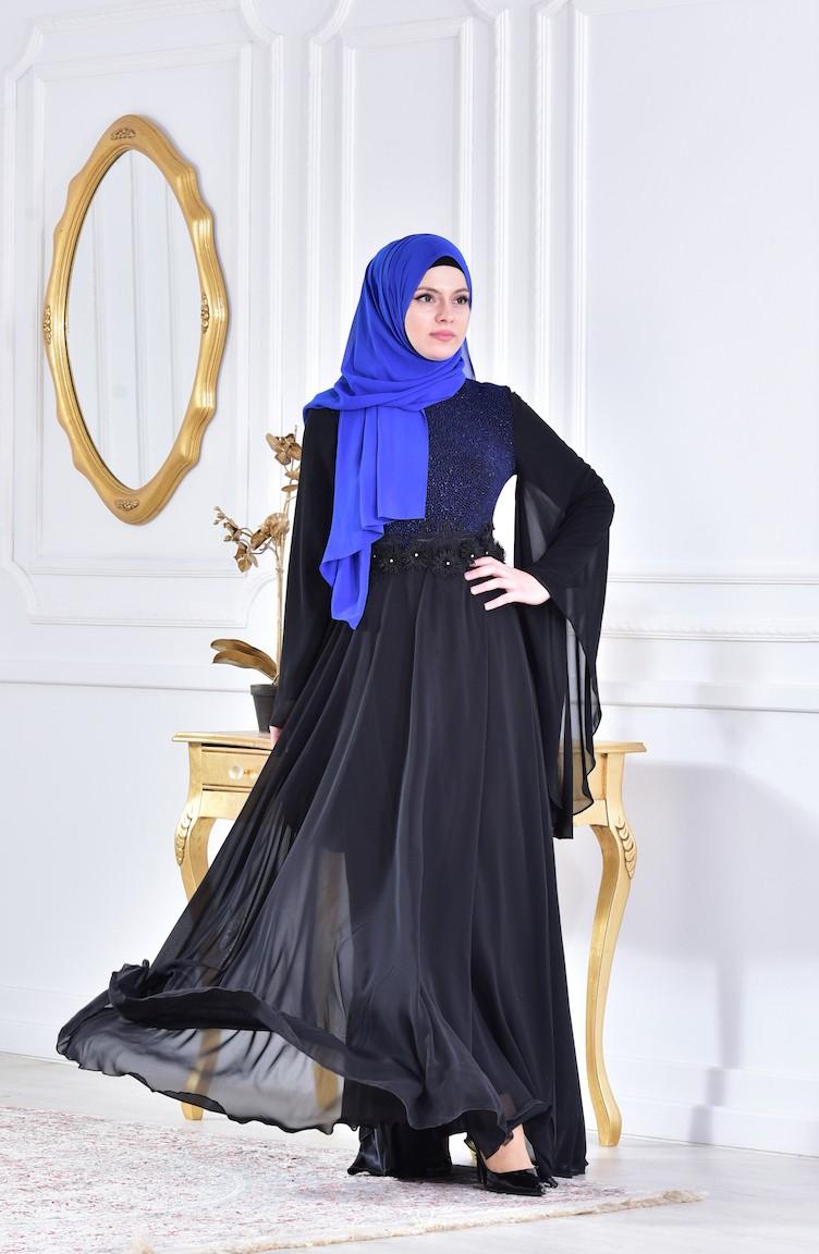 Robe soiree bleu et noire