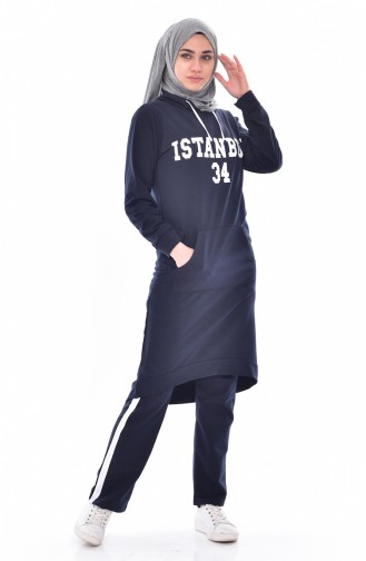 Hooded Tracksuit Suit 18053-04 Navy White 18053-04