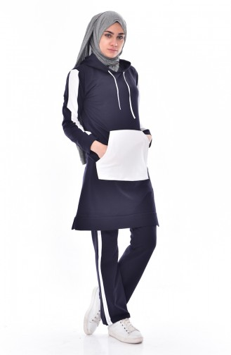 Hooded Tracksuit Suit 18063-04 Navy Blue White 18063-04