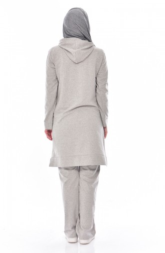 Hooded Tracksuit Suit 18063-08 Gray Pink 18063-07