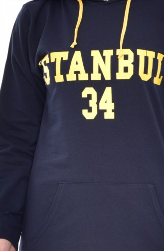 Hooded Tracksuit Suit 18053-05 Navy Yellow 18053-05