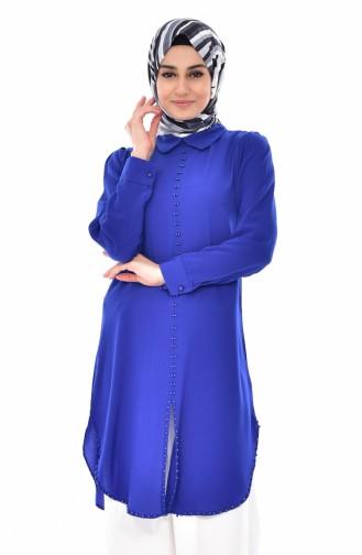 Tunique Perlées Col Bébé 4910-08 Bleu Roi 4910-08