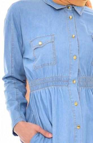 Longue Tunique Jean a Boutons 4234-02 Bleu Jean 4234-02