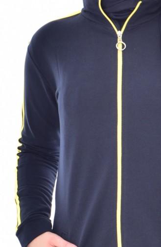 بدلة بتصميم سحاب 18068-09 لون كُحلي و أصفر 18068-08