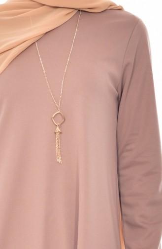 Basic Dress with Necklace 0176-06 Mink 0176-06
