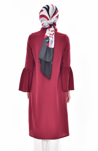 Buttoned Pleated Tunic 3181-03 Claret Red 3181-03
