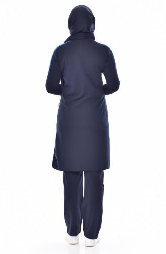 بدلة بتصميم سحاب 18068-09 لون كُحلي و أزرق 18068-09