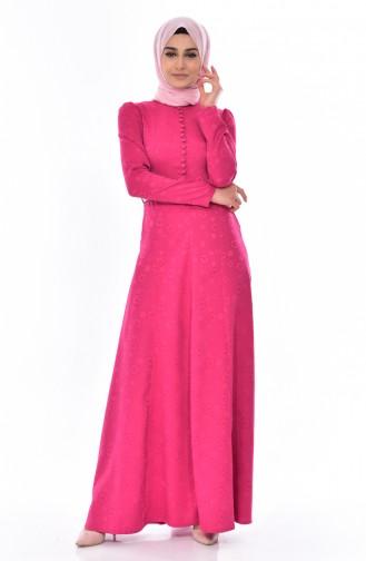 Jacquard Kleid mit Gürtel 9698-05 Zwetschge 9698-05
