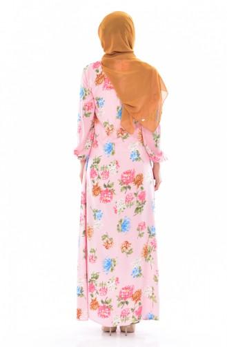 BENGISU Patterned Dress 5040-11 Pink 5040-11