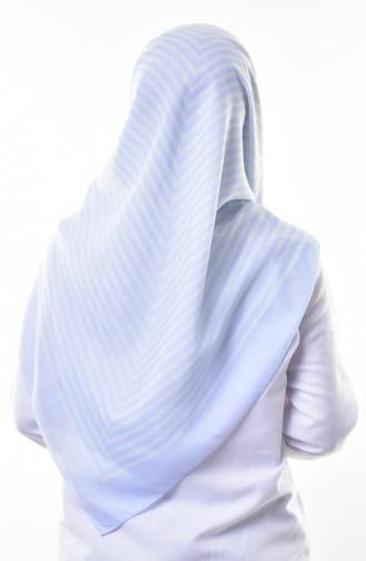Çizgili Şal Eşarp 60049-16 Bebe Mavisi 16