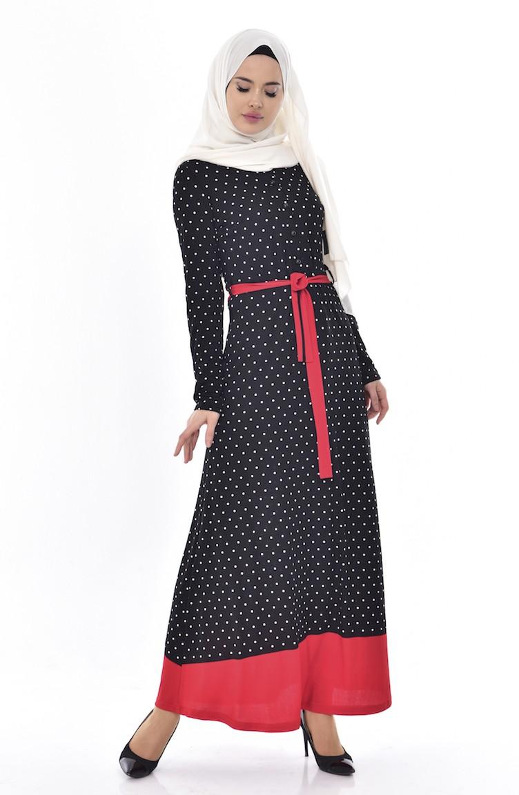 a159ed48fcbd4 Puantiyeli Elbise 5212-02 Kırmızı