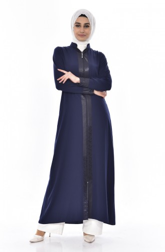 Abaya Garnie 0251-01 Bleu Marine 0251-01