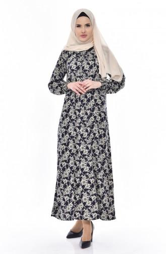 Robe İmprimée de Roses 6015-02 Bleu Marine 6015-02