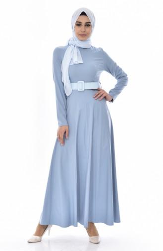 Kleid mit Gürtel 0639-02 Blau 0639-02