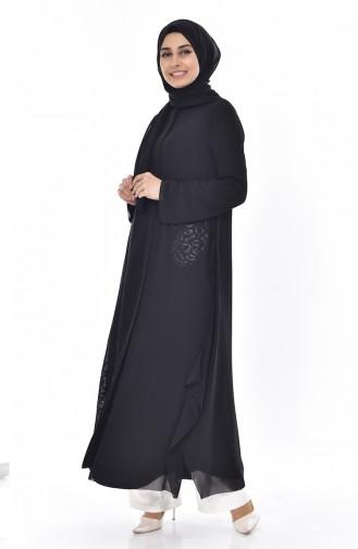 SUKRAN Stone Printed Abaya 35805-01 Black 35805-01