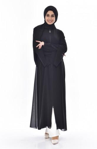 Abaya a Fermeture Détail Plissée 35814-02 Noir 35814-02