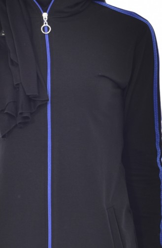 Zippered Tracksuit Suit 18068-06 Black Saks 18068-06