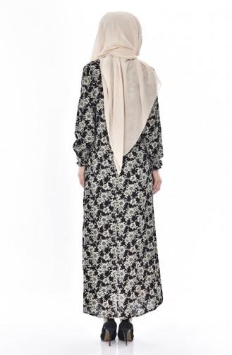 Robe İmprimée de Roses 6015-01 Noir 6015-01