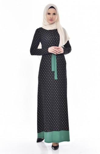 Puantiyeli Elbise 5212-01 Yeşil 5212-01