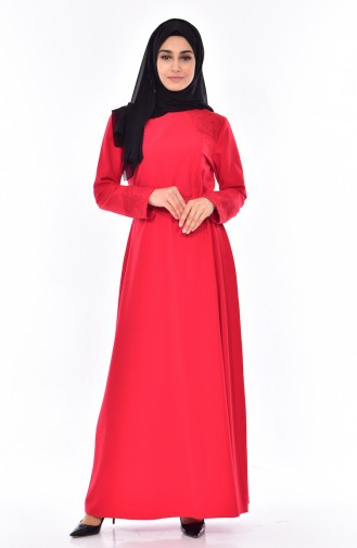 Robe a Ceinture Grande Taille 9001-02 Rouge 9001-02