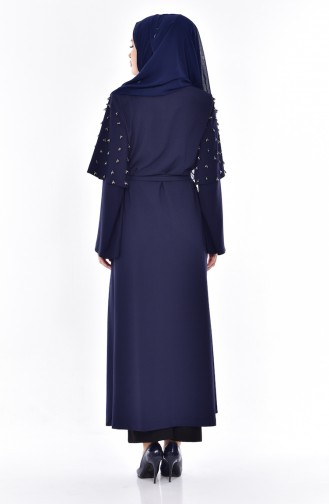 SUKRAN Beads Embroidered Abaya 35808-02 Navy Blue 35808-02